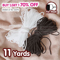 Black/White 11yards Round 3mm (1/8'') Elastic Band Cord Sewing For DIY Face Mask