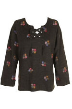Style & Co Floral Embroidered Lace-Up -Front Sweatshirt XS