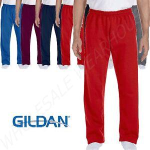 Gildan Mens Sweatpants Open Bottom With Pockets 9 oz DryBlend Gym Workout G123