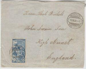 SWITZERLAND 1900 25c 25th anniversary of U.P.U. on cover *NEUCHATEL-HIGH BARNET*