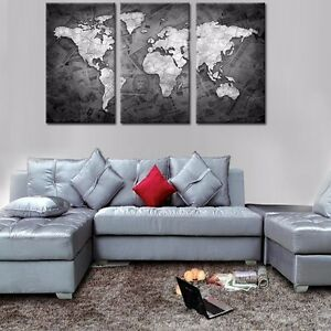 MAP OF THE WORLD-  LARGE SPLIT FRAMED CANVAS PRINTS ! Modern Exclusive Art