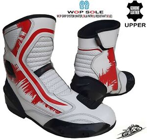MENS RED/WHITE LEATHER MOTORBIKE MOTORCYCLE CE RACING BOOTS SPORTS SHORT SHOES
