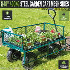 "NEW 48"" 400kg Steel Garden Cart Folding Mesh Sides Trolley Farm Wagon Trailer"