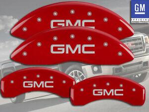 "2001-2007 ""GMC"" Sierra 1500 HD Front + Rear Red MGP Brake Disc Caliper Covers"