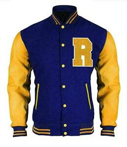 Riverdale KJ Apa Archie Bomber Varsity Letterman Blue And Yellow Jacket