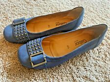 Gabor Flats Blue Leather Buckle Toe Shoes Size Womens 6.5 UK 4.5