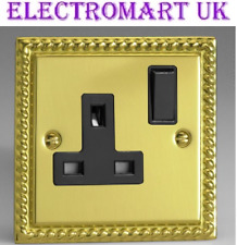 GEORGIAN POLISHED BRASS ROPE EDGE 1 GANG WAY SINGLE 13A SWITCHED SOCKET OUTLET