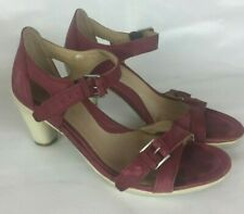 d3b72a345790 Ecco Size 38 Women Sandals Ankle Strap Heels Red Leather Comfort Great  Brand 7.5