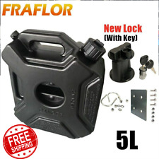 5L Black Jerry Can Car Spare Fuel Tank Motorcycle Oil Canister With Lock And Key