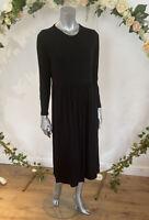 Wednesday's Girl Smock Dress Size 12,18 & 22 Black Midi Jersey Long Sleeve GE67