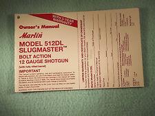 MARLIN MODEL 512DL SLUGMASTER  12 GA. SHOTGUN OWNER MANUAL, dated 9/96 - 10 page