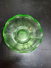 """vintage Federal glass bowl uranium depression vaseline glass green 4"""""""