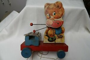 Vintage Fisher-Price Teddy Zilo Xylophone Wood Pull Toy, 1950's, Works, Nice