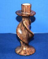 Vintage African Kisii Art Soapstone Twisted Candlestick Kenya Wood Grain Design