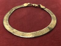 "Vintage Sterling Silver Bracelet 925 7"" Herringbone Chain Gold Tone"