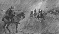 RACING. Rain, course. good wetting-through jockeys, antique print, 1891