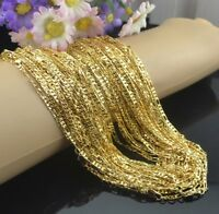 """3PC 18K Yellow Gold GP 2MM Flat Sideway Italy Links Chains Necklace 16""""-30"""" X220"""