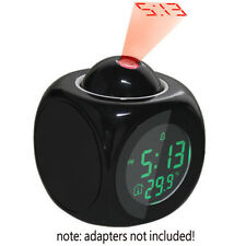 Multifunction Vibe LCD Talking Projection Alarm Clock Time & Temp Display New