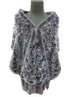 Genuine Rex Rabbit Fur Knitted Rose Tassel Poncho/Wrap/ Shawl/cape/7color/L'190