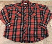 Wrangler Wrancher Mens XL Long Sleeve Pearl Snap Button Front Western Shirt