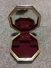 Vintage Centurion Musical Jewelry Box 6 1/2 Round Polygon Maroon Velvet mirror