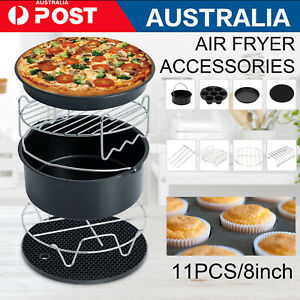 "8"" Air Fryer 11PCS Accessories Frying Cage Dish Baking Pan Rack Pizza Tray Pot"