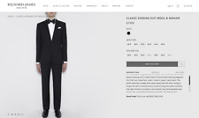 "2016 Richard James Classic Wool & Mohair Evening Suit Tuxedo - 38"" x 32"""
