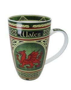 WELSH DRAGON  BISTRO MUG ,Wales Cymru Celtic Weave Design. Attractive gift