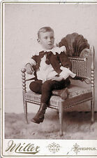 1880-1889 Little Boy in Ruffles & High Button Boots Minneapolis MN Cabinet Photo