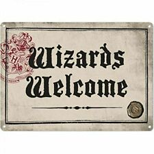 Harry Potter Wizards Welcome Hogwarts Crest A5 Steel Sign Tin  Wall Door Plaque