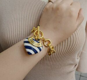 Juicy Couture Nautical Blue & White Stripe Gold Heart Toggle BRACELET