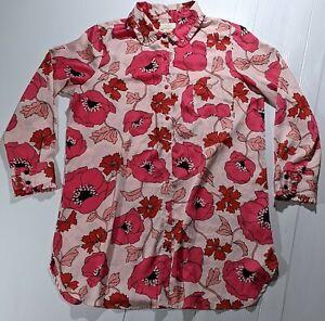 Kate Spade Pink Floral Satin Night Sleep Shirt Size Large Button Front Ruffle
