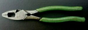 """Klein Tools 213-9 NE-TH 10"""" Lineman's Pliers Green Vintage Made In USA VG / Ex"""