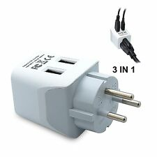 Ceptics USA to Israel, Palestine Travel Adapter Plug  With Dual USB - Type H  -