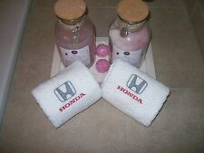 Embroidered  Bath or Gym White Hand Towels car logo Honda -Fathers day gift