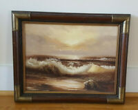 """Claude Terray Oil on Canvas 20"""" x 14"""" Seascape Waves Seagulls Brown Frame Signed"""