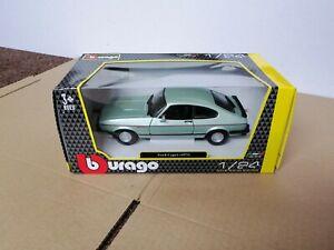 BURAGO 1973 Ford Capri 1:24 Scale Diecast Car Silver Green B1821093 Boxed