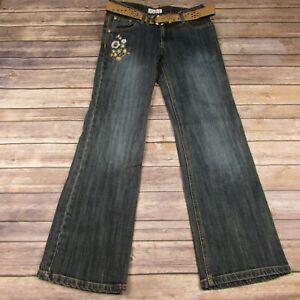 Xhilaration Floral Embellished Flare Jeans With Belt Size 14