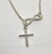 "Cross Necklace  fashion jewelry 18"" chain  silver  tone Christmas gift  #60"