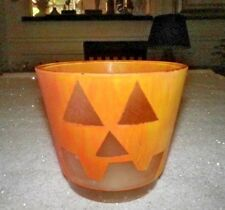 Jack O Lantern Pumpkin Candle Halloween Frosted Glass Painted Succulent Pot Bowl