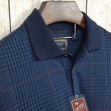 Arrow Medium Men's Long Sleeve Polo Dress Shirt Knit Plaid Navy Houndstooth