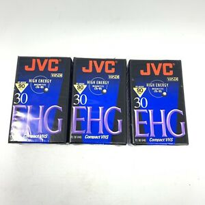 JVC 90 Min 30 EHG Compact VHS Videocassette High Energy Magnetite Set of 3 NEW