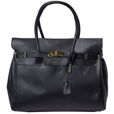 Handbag Bag Italian Genuine Leather Hand made in Italy Florence 8058 bk