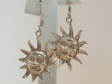 925 Sterling Silver Smiling Sun French wire Drop Dangle Earrings