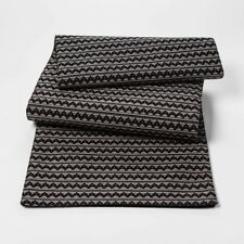 BLACK ZIGZAG PROJECT 62 TARGET TABLE RUNNER  COTTON 14X72 BLACK GRAY SILVER NWOT