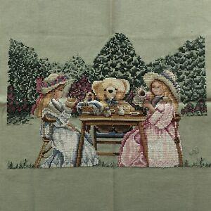 "Completed Cross Stitch Little Girl Tea Party W Teddy Bear 13.5""x 8.75""  Handmade"