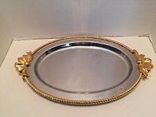 Oneida 18-8 Stainless Serving Tray with Ribbon and Bow Handles