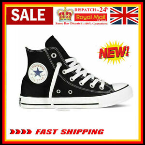 Converse Unisex Chuck Taylor All Star Hi Top Black Lace Up Canvas Trainers NEW