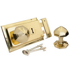 Brass Rim Lock + OCTAGONAL RIM KNOB | Solid Polished Heavy Cast Brass