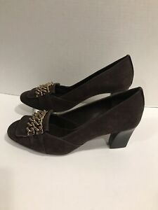 Tory Burch Black Suede Leather Gold Chain Oxford Pumps Heels Size 9.5 M $325